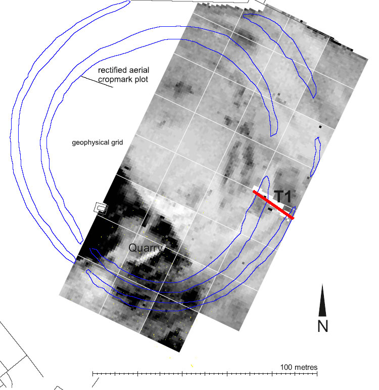 Geophysical plot and location of Trench 1 in relation to transcription.