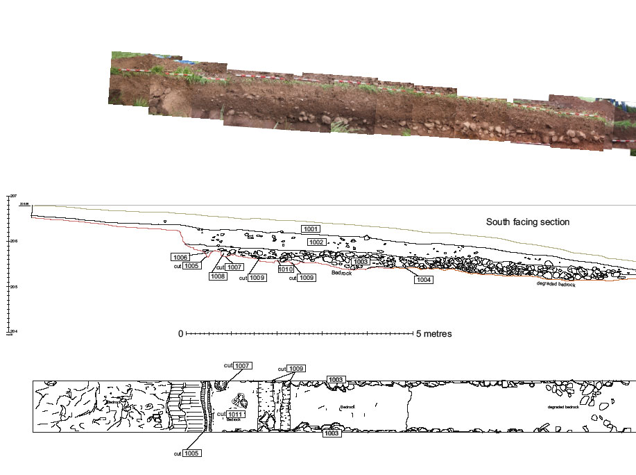 Western part of trench 1 with section and plan showing features and terrace